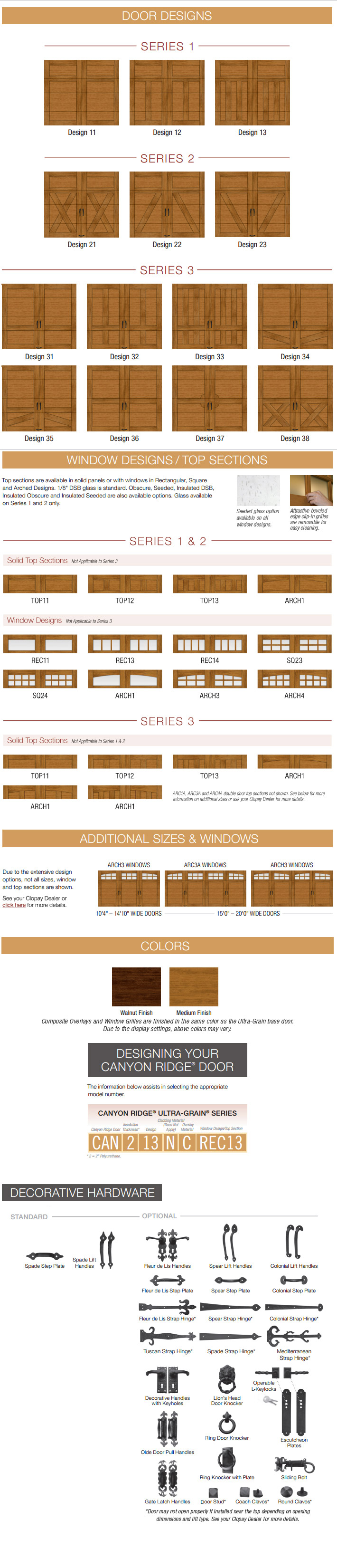 Canyon Ridge Ultra-Grain Series Door Designs | Amelia Overhead Doors | (804) 561-5979